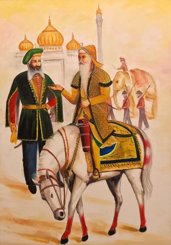 Painting of Maharaja Ranjit Singh with French general Jean François Allard